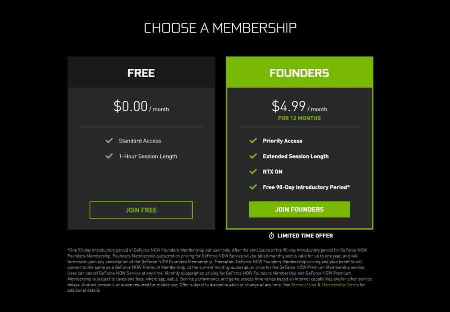 GeForce Now Memberships